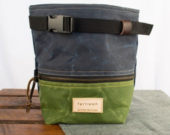 Waxed canvas boulder bucket, chalk bucket, rock climbing chalk bag, chalk pot, bouldering, bouldering bag, navy and green, gifts for climber