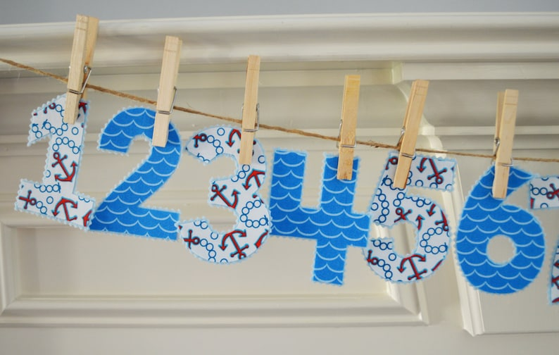 Iron On Anchors Away Monthly Numbers for Babies