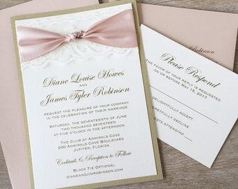 THE KNOT - Blush and Gold Wedding Invitation with Ivory Lace- Elegant Lace Wedding Invitation with Blush Satin Ribbon