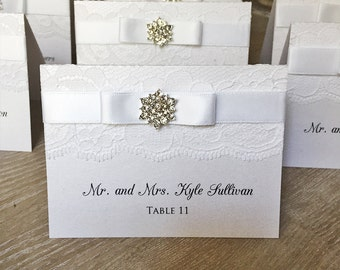 Snowflake Lace Place Cards - Lace Escort Cards - Elegant Table Cards - Couture Name Cards - Ivory or White Lace w/ Crystal Snowflake Button