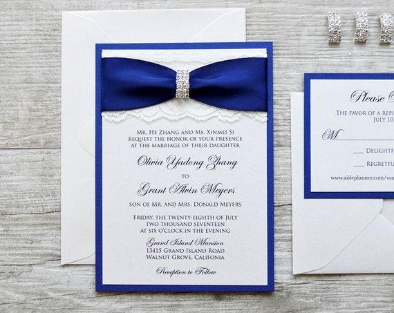 OLIVIA - Ivory Lace Wedding Invitation with Royal/Navy Blue Ribbon and Silver Rhinestone Buckle - Classic and Elegant Wedding Invitation