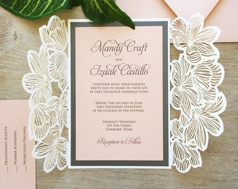 MANDY - White Shimmer Laser Cut Wedding Invitation with Blush Card Stock & Charcoal Grey Accents- Silver Ribbon - Floral Laser Cut Gatefold
