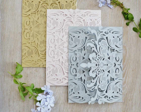 DIY Exquisite Laser Cut Gatefold Invitation - Laser Cut Wedding Invitations - Elegant Invitations - Lace Paper Invite -More Colors Available