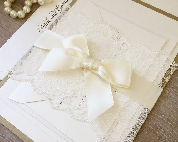 SAMANTHA - Gold and Ivory Lace Wedding Invitation - Ivory Lace Belly Band Invitation - Lace Wrapped Invite with Ivory Satin Ribbon Bow