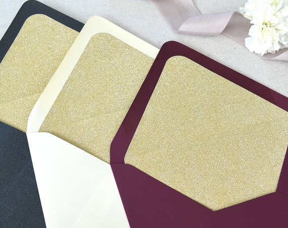 25 Pack of Gold Glitter Liners for Euro Flap Envelopes - Glitter Envelope Liners for Invitations