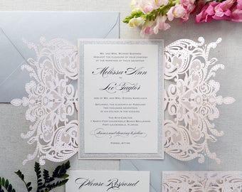 MELISSA SILVER GLITTER-Blush Laser Cut Wedding Invitation with Silver Glitter and Silver Satin Bow - Elegant Laser Cut Invite -Custom Colors