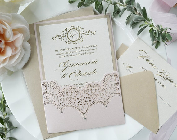 GINAMARIE - Blush Laser Cut Pocket Wedding Invitation with Swarovski Crystal Accents - Beige Sand and Ivory Shimmer Card Stock