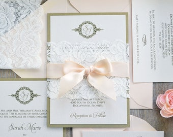 SARAH - Lace Wedding Invitation - Gold and Ivory Shimmer Card Stock with Ivory Lace Wrap and Blush Satin Ribbon - Ivory Lace Belly Band