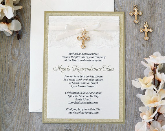 ANGELA - Lace Baptism Invitation - Ivory Lace with Gold Rhinestone Cross - Gold Glitter and Lace Christening Invitation