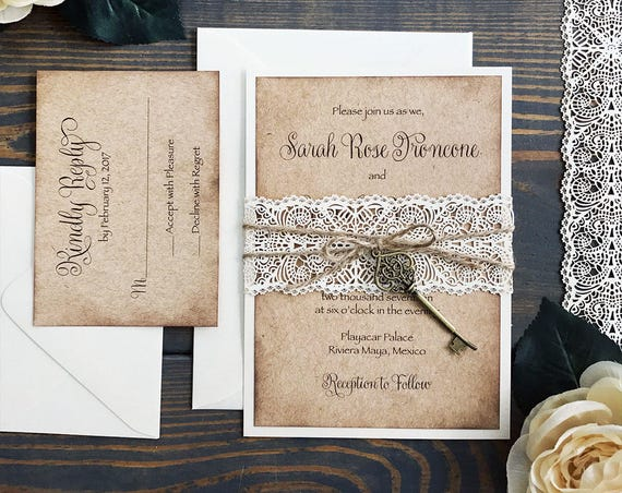 SARAH - Burlap & Lace Wedding Invitation - Distressed Edge Rustic Invitation with Ivory Laser Lace Cut Belly Band, Twine and Bronze Key