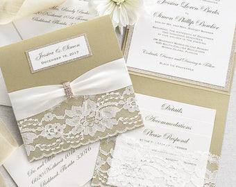 JESSICA - Square Lace Pocket Wedding Invitation- Champagne Gold & Ivory - Square Folding Invitation with Gold Glitter and Rhinestone Buckle