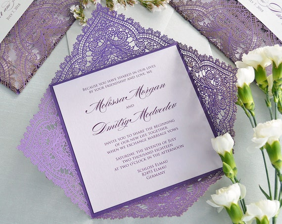 PURPLE CHANTILLY LACE Laser Cut Wrap Invitation - Violet Square Laser Cut Wedding Invitation with Lilac Insert and Silver Belly Band