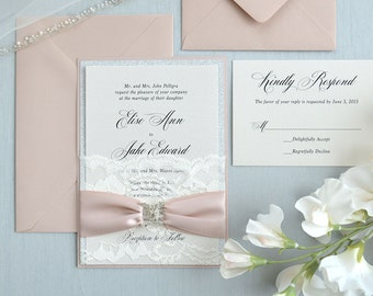 ELISE - Ivory Lace Pocket Wedding Invitation with Silver Glitter, Pink Blush Satin Ribbon, and Pink Blush Backing - Custom Colors Available