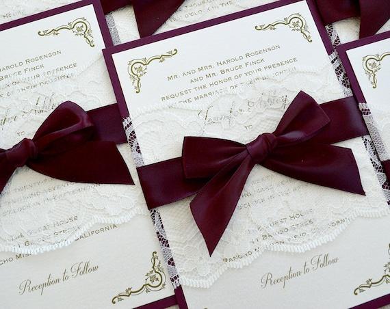 JENNIFER - Burgundy and Ivory Lace Wedding Invitation- Ivory Lace Belly Band with Burgundy Ribbon Bow - Elegant and Classic Wedding Invite