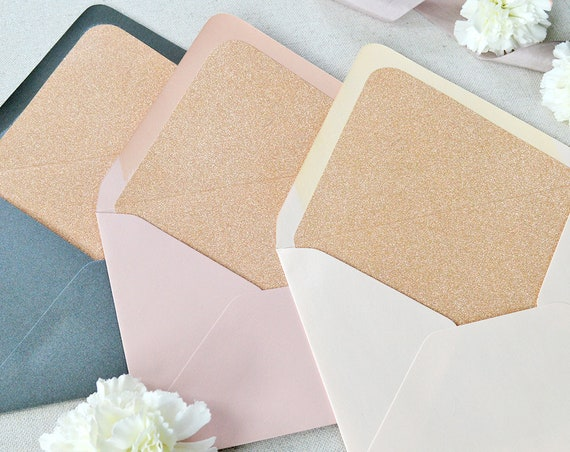 25 Pack of Rose Gold Glitter Liners for Euro Flap Envelopes - Glitter Envelope Liners for Invitations