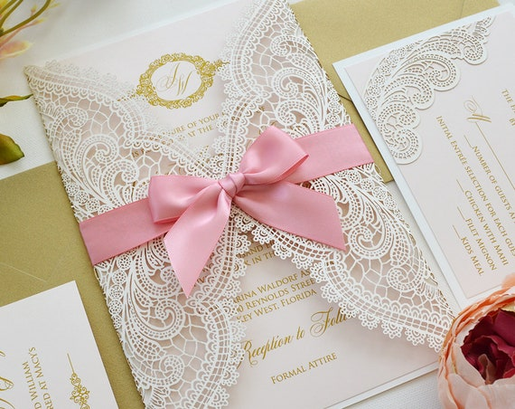 JESSICA Pale Pink and White Chantilly Lace Laser Cut Wedding Invitation with Metallic Gold Ink and Peony Pink Ribbon Bow