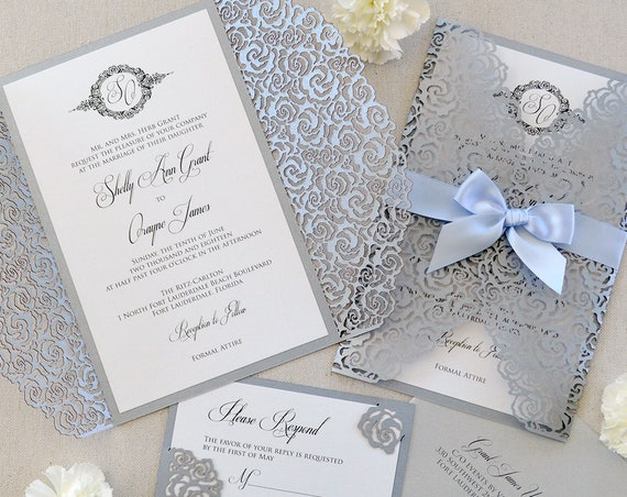 SHELLY Silver Roses Laser Cut Wrap Invitation - Silver Laser Cut Wedding Invitation with White Shimmer Insert and Pale Blue Ribbon Bow