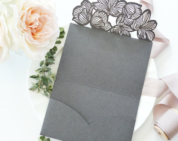 DIY Laser Cut Flower Trifold Pocket Invitation - Laser Cut Wedding Invitation - Laser Cut Flower - Do It Yourself Pocket Invitation