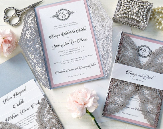 DONYA Chantilly Lace Laser Cut Invitation with Back Pocket - Silver Laser Cut Wedding Invitation with Pink Border and Belly Band