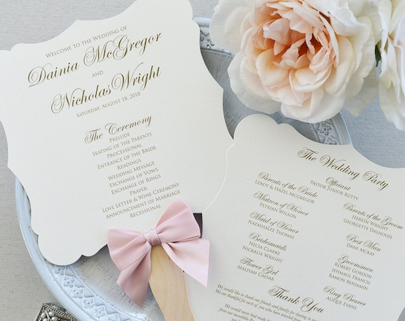 Fancy Shape Fan Program with Blush Bow - Ivory Die Cut Wedding Program with Pink Blush Ribbon - Custom Wording, Colors, & Fonts