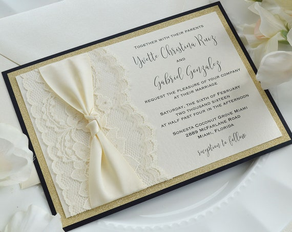 YVETTE - Ivory Lace Wedding Invitation with Gold Glitter and Ivory Satin Ribbon Knot- Gold, Black and Ivory Knot Invitation with Lace