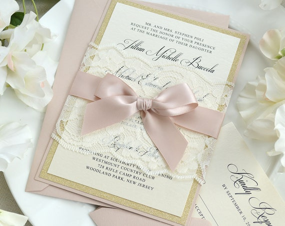 JILLIAN - Ivory Lace Wrapped Wedding Invitation with Gold Glitter, Pink Blush Satin Ribbon, and Blush Backing - Custom Colors Available