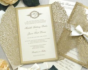 MISHELLE Gold Roses Laser Cut Invitation - Gold Laser Cut Wedding Invitation with Gold Glitter and Ivory Ribbon Bow