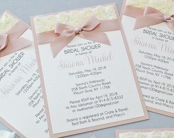 SHANIA- Rosette Bridal Shower Invitation - Ivory Rosette Lace with Pink Blush Ribbon - Baby Shower Invitation