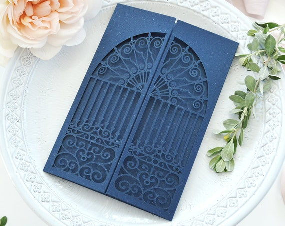 DIY Laser Cut Doors Invitation - Laser Cut Wedding Invitation - Laser Cut Castle Doors Invite - Do It Yourself Laser Cut Invitation