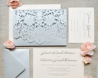JANET - Blush and Silver Laser Cut Wedding Invitation - Silver Shimmer Laser Cut Envelope with Blush card - Swarovski Crystal Embellishments