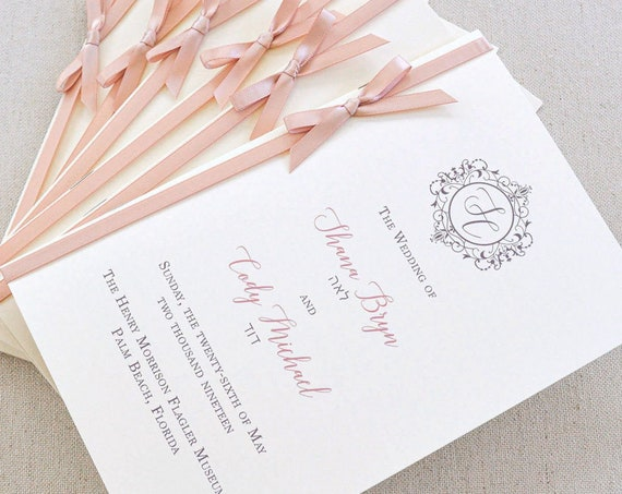 8 Page Wedding Program with Blush Satin Ribbon Bow - Ivory and Blush Pink Wedding Program - Church Program - Folding Program