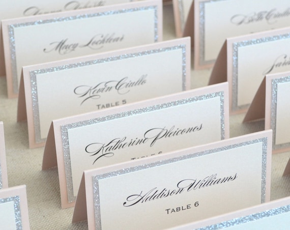 Blush and Silver Glitter Place Cards - Tented Escort Cards - Custom Placecard for Weddings, Sweet 16, Quinceañera, Bridal Showers