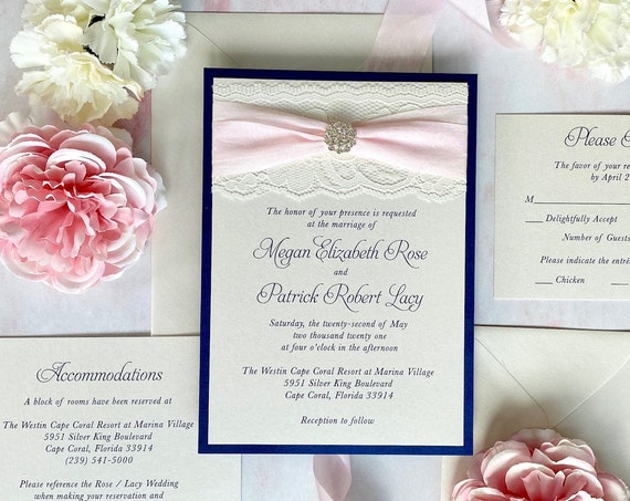 MEGAN - Ivory Lace Wedding Invitation w/ Navy Blue Shimmer Border, Faux Silk Ribbon in Pale Pink, Crystal Button, & Ivory Shimmer Envelopes