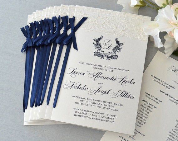 Wedding Program with Navy Satin Ribbon Bow - Ivory Lace Wedding Program - Church Program - Folding Program - Custom Wording & Colors