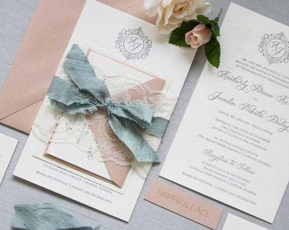 KIMBERLY - Luxurious Letterpress Wedding Invitation - Double Thick 100% Cotton Pearl White Card Stock with Lace and Dusty Blue Silk Ribbon