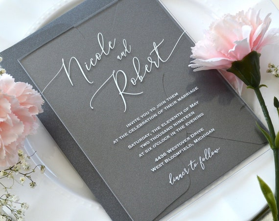 NICOLE Acrylic Wedding Invitation - Clear Acrylic Invitation with White Ink Calligraphy and Thick Card Stock Envelopes