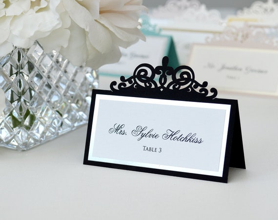 Black Laser Cut Place Card with Silver or Gold Accent - Escort Card - Custom Placecard for wedding, bridal shower, quince, sweet 16