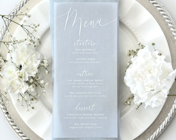 Vellum Wedding Menu - White Ink on Translucent Vellum Paper - Custom Menu - Dinner Menu Card
