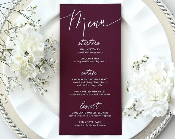 Burgundy Wedding Menu - White Ink on Burgundy Card Stock - Custom Menu - Dinner Menu Card