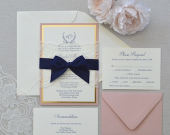 RACHEL - Blush, Navy, Gold, and Ivory Lace Wedding Invitation- Ivory Lace Belly Band with Navy Bow - Blush and Gold Wedding Invite