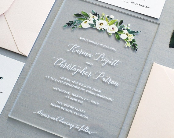 KARINA Acrylic Wedding Invitation - Clear Acrylic Invitation with White Ink and Flowers - Thick Card Stock Envelopes