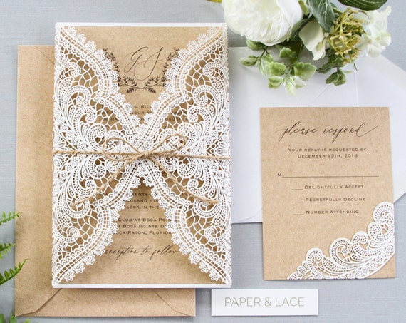 GUIRLENE - White Chantilly Lace Laser Cut Wedding Invitation with Kraft Card Stock Insert and Natural Jute Twine - Burlap and Lace Invite