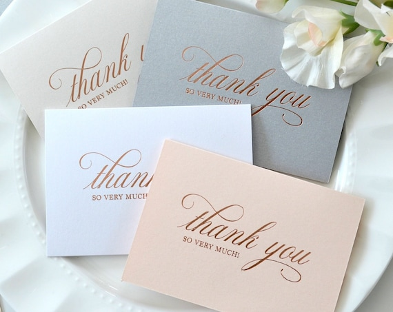 10 Pack of ROSE GOLD Foil Stamped Thank You Cards - Thank You So Very Much - Folding Cards with Envelopes - Wedding Thank You Notes