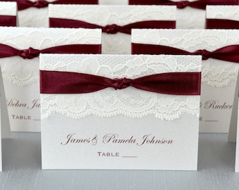 Knot Lace Place Card-Lace Escort Card - Burgundy Ribbon and Ivory Lace - Custom Place card for Wedding, Sweet 16, Quince, Bridal Showers