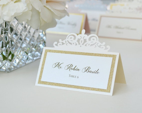 Ivory Laser Cut Place Card with Gold, Rose Gold or Blush Accent - Escort Card - Custom Placecard for wedding, bridal shower, quince, sweet16
