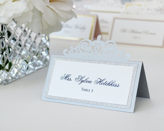 Silver Laser Cut Place Card with Silver Glitter Accent - Escort Card - Custom Placecard for wedding, bridal shower, quince, sweet 16