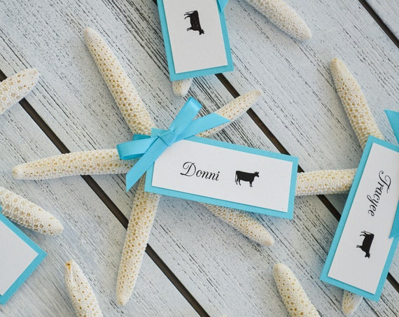 Starfish Place Cards - Escort Cards - Table Cards - Beach Wedding Placecards - Custom colors available for Hangtag and Satin Ribbon