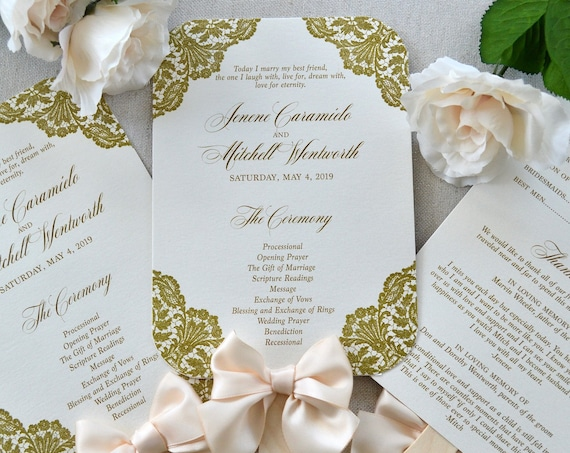 Fan Wedding Program with Bow - Ivory Program with Peach Blush Ribbon Bow and Gold Lace Corners- Custom Wording, Colors, & Fonts