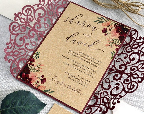 SHARON - Burgundy and Burlap Laser Cut Wedding Invitation- Burgundy Lace Laser Cut Gatefold with Burlap Card Stock and Twine