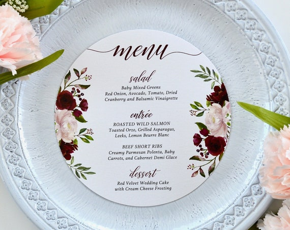 "Round Wedding Menu - Burgundy and Blush Flowers on White or Ivory Card Stock - Custom Dinner Menu - 6.25"" Circle Menu"
